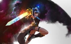 Картинка взгляд, девушка, оружие, фон, волосы, меч, сапоги, арт, нападение