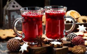 Картинка ягоды, шары, печенье, Рождество, Новый год, напиток, hot, кружки, Christmas, выпечка, background, drink, cookie, глинтвейн, …