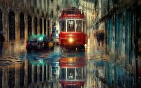 Картинка машины, город, дождь, транспорт, улица, трамвай
