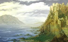 Картинка море, облака, замок, скалы, нарисованный пейзаж