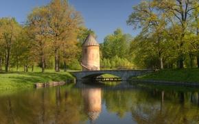 Картинка небо, деревья, мост, пруд, Парк, синее