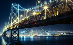 Картинка ночь, мост, огни, залив, золотые ворота, сша, San francisco