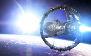 Картинка космос, звезда, корабль, планета, станция, арт, орбита