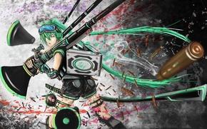 Картинка девушка, оружие, кровь, арт, пули, Hatsune Miku, Vocaloid, Вокалоид