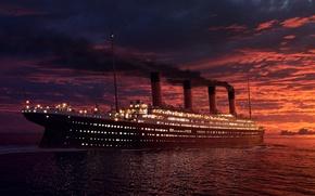 Картинка закат, корабль, Титаник