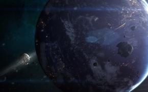 Картинка космос, планета, звёзды, Земля