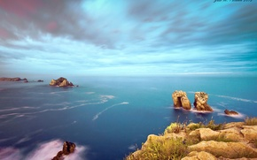 Картинка море, Costa Quebrada, Los Urros, скалы, небо