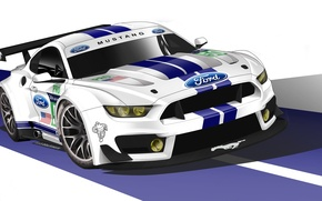 Картинка Mustang, Ford, Car, Race, GT350, GTE, 2015