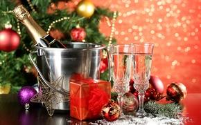 Картинка зима, шарики, игрушки, Новый Год, бокалы, Рождество, подарки, ёлка, шампанское, Christmas, праздники, New Year, ведерко, …