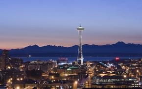 Картинка горы, башня, вечер, Сиэтл, Space Needle