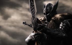 Обои металл, рендеринг, фон, меч, доспехи, воин, шлем, рыцарь