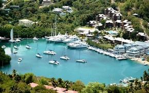 Картинка город, остров, яхты, порт, Карибы, Caribbean, marina, St.Lucia, Margot bay