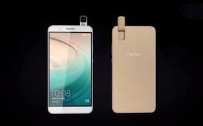 Картинка gold, android, hi-tech, back, smartphone, Huawei, Honor 7i