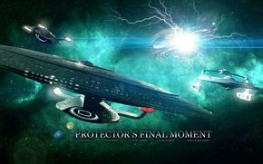 Картинка stars, planet, spaceships, protector's final moment