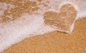 Картинка море, пляж, пена, галька, сердце, love, heart, Sea