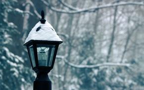 Обои фонарь, лампочка, снег, зима