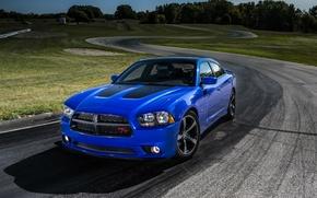 Картинка синий, Dodge, седан, додж, Charger, трэк, Sedan, R/T, Muscle Car, Daytona, V-8