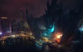 Картинка ночь, город, монстр, корабли, арт, порт, разрушение, Pacific Rim, Тихоокеанский рубеж, Kaiju
