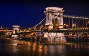 Картинка ночь, мост, огни, река, фонари, залив, budapest, будапешт, chain bridge