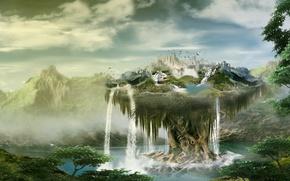 Картинка деревья, горы, природа, водопад