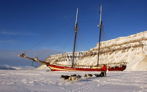Картинка лед, собаки, человек, корабль, парусник, мороз, сани