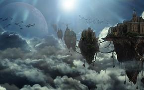 Картинка небо, облака, птицы, city, небесный город