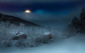 Картинка зима, ночь, дома