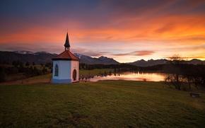 Картинка закат, горы, озеро, Бавария, горизонт, церковь