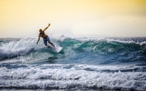 Картинка море, волны, небо, горизонт, серфер, серфинг, доски для серфинга