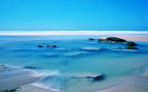 Картинка море, небо, камни, берег, горизонт
