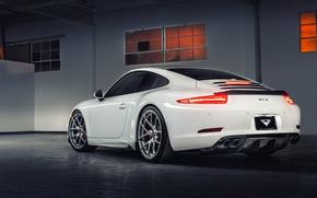 Картинка Porsche, white, порше, Coupe, Carrera, Edition, 991, rearside, V-GT