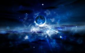 Обои звезды, синий, Планета