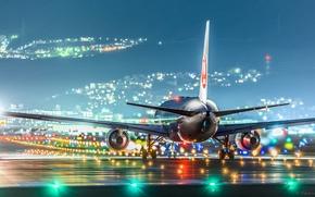 Картинка самолёт, взлётная полоса, JAL
