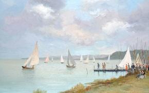 Картинка картина, лодка, яхта, регата, люди, Regatta on the Etang of San Quentin, Марсель Диф, морской ...