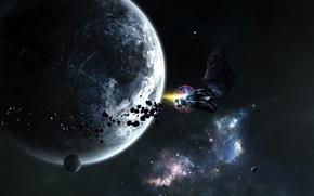 Обои корабль, планеты, звезды
