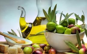 Картинка стол, масло, тарелка, хлеб, оливки, плошка, графин