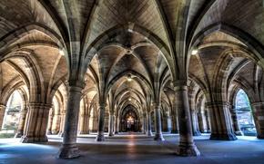 Картинка Шотландия, арка, колонна, университет, Глазго, Bute Hall