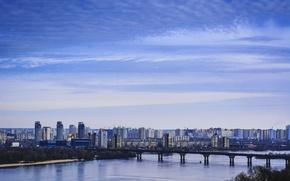 Картинка небо, мост, река, дома, Украина, Киев, Днепр, левый берег
