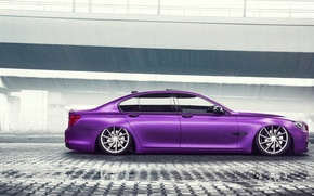 Картинка BMW, German, Car, Purple, Color, Side, 7 Series, Vossen, Low, Wheels