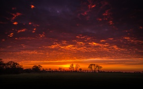 Обои пейзаж, природа, закат, небо, облака