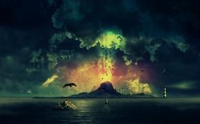 Обои птицы, корабль, вода, череп, маяк, небо, облака