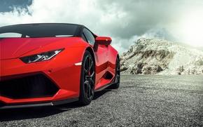 Картинка Lamborghini, Red, красная, ламборджини, 2015, Huracan, хуракан, LP 60-4