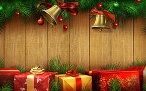 Картинка цвета, золото, милая, красота, colors, Рождество, подарки, red, golden, золотой, красивая, gold, колокольчики, Happy New …
