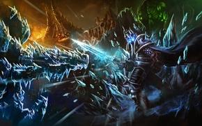 Обои Heroes of the Storm, лед, warcraft, diablo, arthas, lich king, Abathur, starcraft, меч, Azmodan