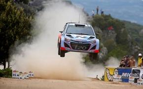 Картинка прыжок, пыль, italia, rally, wrc, hyundai, зрители, i20, 2014