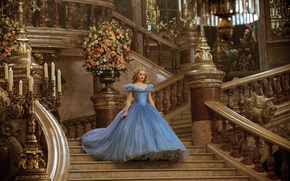 Картинка цветы, платье, лестница, зал, Золушка, Лили Джеймс, Lily James