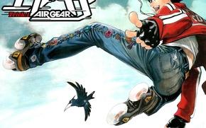 Картинка прыжок, джинсы, ролики, очки, ворона, эйфория, art, air gear, крутой чувак, голубое небо, oh! great, …