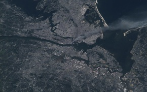 Картинка дым, Нью-Йорк, Манхеттен, МКС, New York, Manhattan, Торговый центр, 2001.09.11., теракт