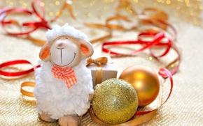 Картинка украшения, Новый Год, овечка, New Year, sheep, Happy, 2015