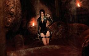 Картинка купальник, девушка, осьминог, костюм, lara croft, tomb raider, гарпун, Tomb Raider: Underworld